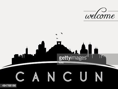 Cancun Mexico Skyline Silhouette Black Vector Design Vector Art