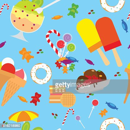 Candies And Ice Cream Seamless Pattern : Vector Art