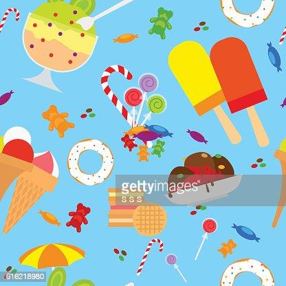 Candies And Ice Cream Seamless Pattern : Vektorgrafik