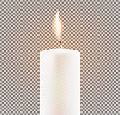Candle Flame on Transparent Background. Vector Illustration.