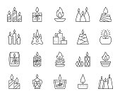 Candle Flame thin line icons set. Outline sign kit of church decoration. Memorial Fire linear icon wax, transparent candlelight. Simple candle flame black contour symbol isolated Vector Illustration