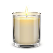 Candle light in a straight glass jar. Vector realistic illustration.