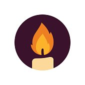 Candle flame vector icon. Flat design icon.