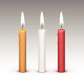Candles Flame Fire Light Isolated on Background. Realistic Vector Illustration Multicolored White Red Yellow Set