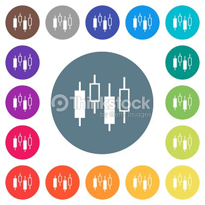 Candlestick Chart Flat White Icons On Round Color Backgrounds Vector