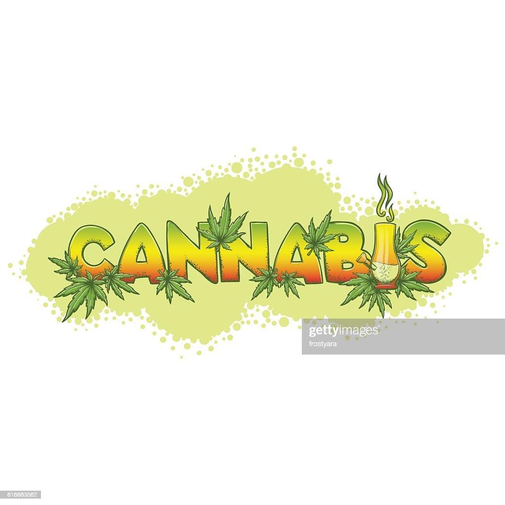 Cannabis and Bong Bacgraund : Vector Art