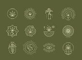 Vector illustration of medical marijuana emblems on green background.