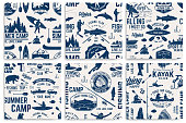 Set of Canoe, Kayak and fishing Club seamless pattern. Vector. Concept for shirt, print, stamp, badge or tee. Vintage typography design with kayaker and fisher silhouette. Water Extreme sport.