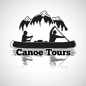 Canoe tours label. Two man in a canoe boat, with reflection in the river, with mountains and forest landscape. Vector illustration