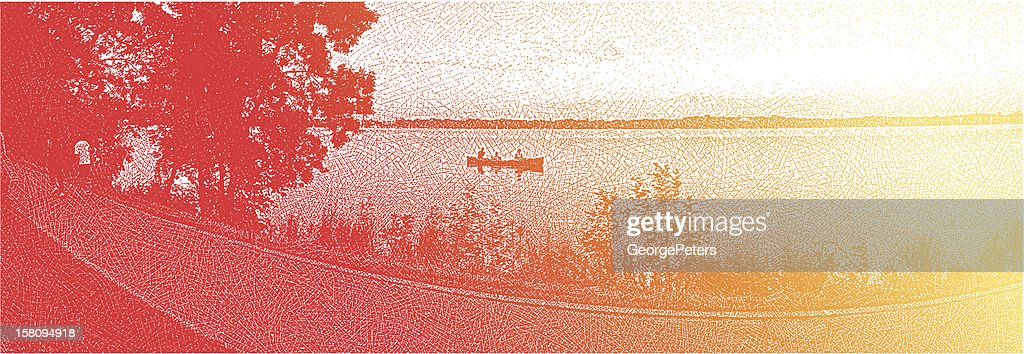 Canoeing and Fishing on a City Lake : Vector Art