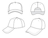 Outline cap vector illustration isolated on white. EPS8 file available.
