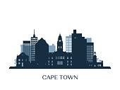 Cape Town skyline, monochrome silhouette. Vector illustration.