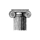 Ionic order. Vector hand drawn illustration of classical capital. Illustration in vintage engraving style.