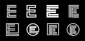 Capital letter E. Modern set for monograms, logos, emblems, initials. Made of white stripes Overlapping with shadows