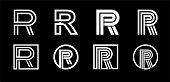 Capital letter R. Modern set for monograms, logos, emblems, initials. Made of white stripes Overlapping with shadows