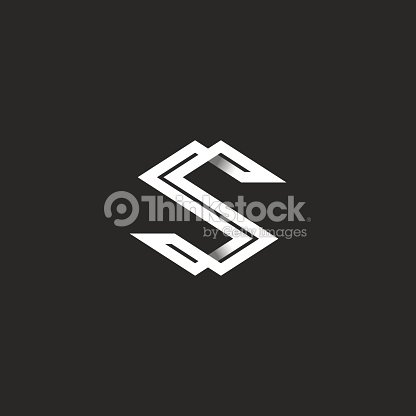 Capital Letter S Icon Monogram Intersection White Angular Lines Overlapping Strips Shape SS Initials Typography Business Card Emblem Design Element