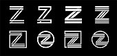 Capital letter Z. Modern set for monograms, logos, emblems, initials. Made of white stripes Overlapping with shadows