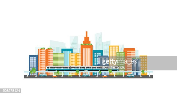 Capital.downtown.electric train. transportation. color full building : Vector Art