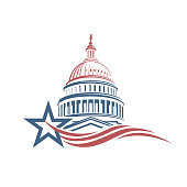 Unated States Capitol building icon in Washington DC