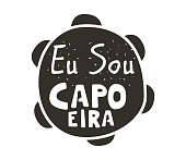 Capoeira music icon. Traditional rhythm, style of play, and drum tune energy of a brazil game with instruments, clapping, and singing. Vector flat style black and white illustration