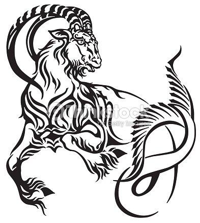 Signo Capricornio Del Tatuaje Tribal Zodiaco Arte Vectorial Thinkstock
