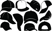 set of different caps silhouettes isolated