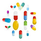 Capsule pill medicine icons set. Flat illustration of 16 capsule pill medicine vector icons for web