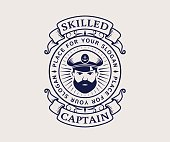 Nautical emblem with captain icon. Vintage typography badge isolated on white background. Vector template for cruise ship, sea travel agency or other marine companies.