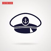 Captain hat icon isolated on white background. Sea, nautical and travel themes. Vector illustration.