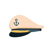 Captain sailor hat icon, flat design vector. Navy cap, ship officer or admiral. Sailor, naval captain hat. Marine cap side brave and strong captain concept. Vector illustration isolated on background.