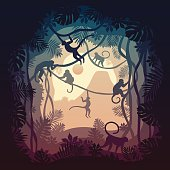 Tropical illustration of little monkey playing in the jungle. Everything was draw as silhouettes, gradient were use and there is an illusion on depth by layering the different parts of the image. This