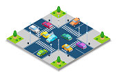 Car accident and crash, vector isometric 3D illustration. Collision at intersection with traffic lights. Safety street traffic and road insurance concept.