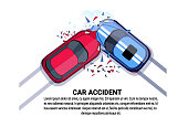 Car Accident Top View Vehicle Collision Icon Over White Background With Copy Space Flat Vector Illustration