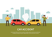 Car accident infographic with text place. Flat style minimal vector illustration.