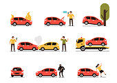 Different car accidents with people. Types of Insurance cases.  Flat style minimal vector illustration isolated on white background.