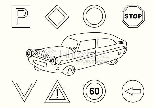 Coche Y Señal De Tráfico Libro Para Colorear Arte vectorial | Thinkstock