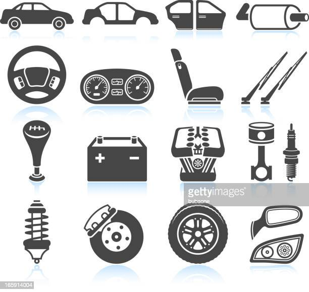 Car Assembly and Parts black & white vector icon set
