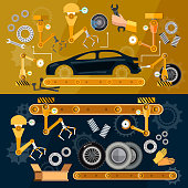 Car assembly line  auti conveyor belt, yellow robots welding cars in a production line