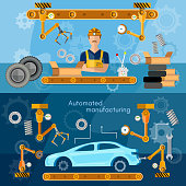 Car assembly line banner conveyor belt operator automotive industry vector illustration