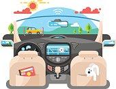 Car autopilot computer system Car technology, auto transport, automotive navigation transportation, vector illustration