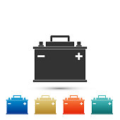 Car battery icon isolated on white background. Accumulator battery energy power and electricity accumulator battery. Set elements in colored icons. Flat design. Vector Illustration