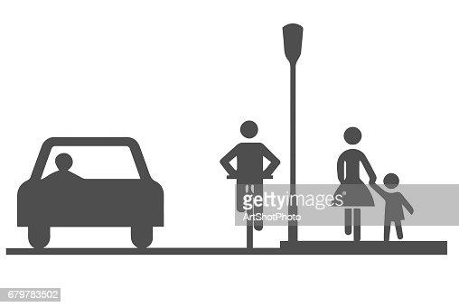 Car, bicyclist and pedestrians : stock vector