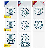 car charging plug types in europe america and asia vector illustration eps 10