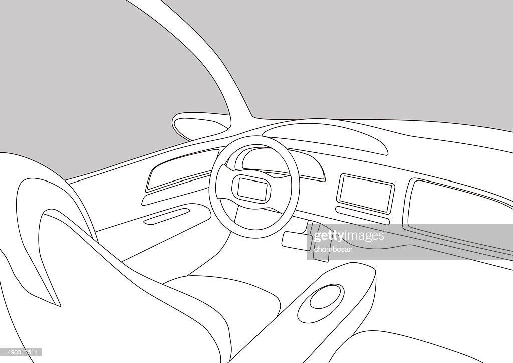 Line Drawing Of Car : Car sport drift eps vectors search clip art illustration