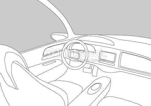 Line Drawing Car : Car cockpit and various displays line drawing illustration vector