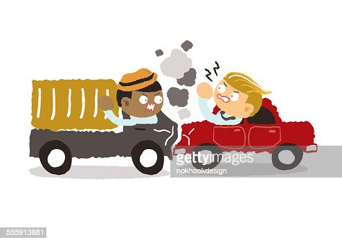 car crash in the city on a white background : Vector Art