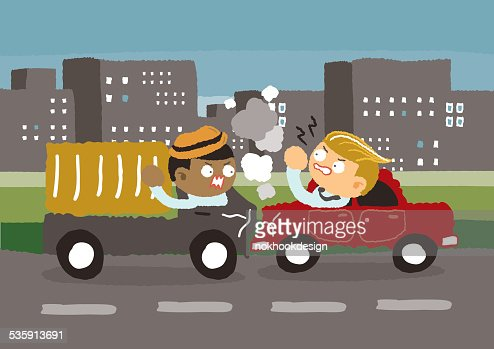 Accidente de tráfico en la ciudad : Arte vectorial
