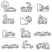 Car crashes icons set. Transportation accidents, thin line design. Collision and breaking of road transport. isolated symbols collection.