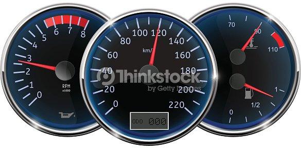 Car Dashboard Speedometer Tachometer Fuel Gauge stock vector