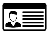 Driving id license with person photo, identification card icon. Vector illustration.
